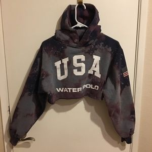 USA Olympics Cropped Hoodie Bleached Upcycled S